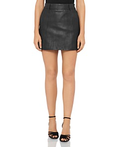 REISS - Mimi Leather Mini Skirt