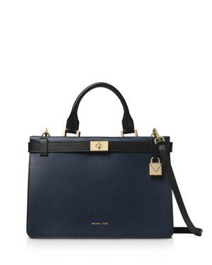 Tatiana Medium Leather Satchel Bag - Golden Hardware in Admiral/ Black