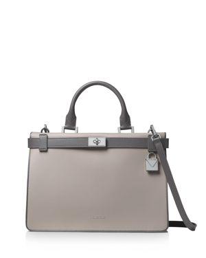 Tatiana Medium Leather Satchel Bag - Silvertone Hardware in Grey Multi