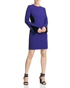 Donna Karan - Crepe & Velvet Panel Sheath Dress