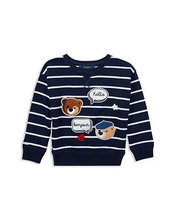 Ralph Polo Lauren Girls' Bear Striped Chenille Patch Sweatshirt dCBoxe