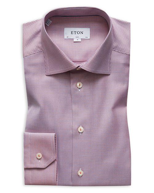 Eton - Textured Solid Slim Fit Dress Shirt