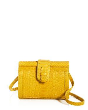 XIMENA KAVALEKAS Carmen Python Convertible Belt Bag in Mustard Yellow/Gold