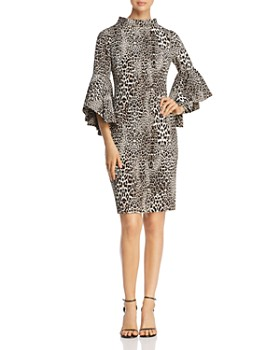 Badgley Mischka - Bell Sleeve Leopard Print Sheath Dress