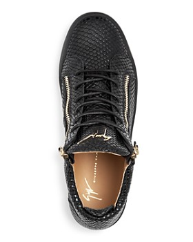 Giuseppe Zanotti - Men's Snake-Embossed Leather Mid Top Sneakers