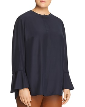 Lafayette 148 New York Plus - Izzie Silk Bell-Sleeve Blouse