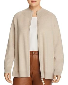 Lafayette 148 New York Plus - Wool Zip-Front Cardigan