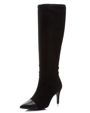 Women'S Parish Pointed Toe Suede & Leather Boots in Black