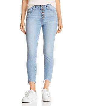 Just Black Denim - Shark-Bite High-Rise Cropped Slim Straight-Leg Jeans in Light Blue