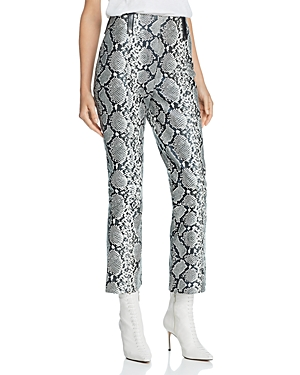 Veda Palmer Cropped Snake-Print Leather Pants