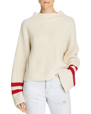 Lost + Wander Mulberry Stripe-Sleeve Sweater