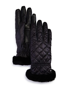UGG® - All Weather Shearling-Cuff Quilted Tech Gloves