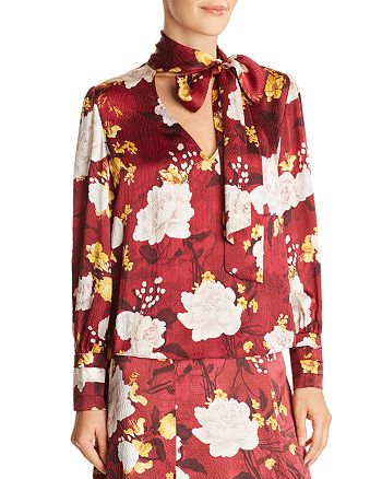 e28ee8d9e4595b Alice and Olivia Alice + Olivia Crogan Floral Tie-Neck Silk Top ...
