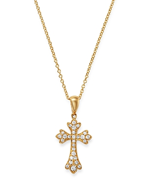 Bloomingdale's Diamond Small Cross Pendant Necklace in 14K Yellow Gold, 0.15 ct. t.w. - 100% Exclusive