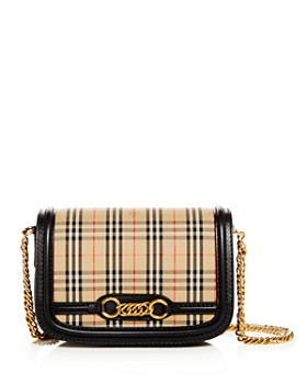 Burberry - The 1983 Check Link Medium Fabric   Smooth Leather Shoulder Bag  ... 908539425fa73