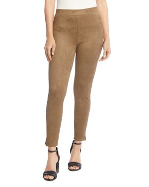 Faux-Suede Pull-On Skinny Pants, Earth