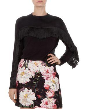 Aniebal Fringe Trim Sweater, Black
