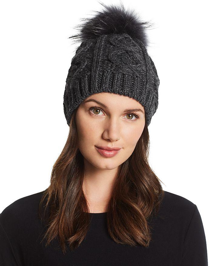 b7d010e0584 Echo Fur Pom-Pom Cable-Knit Beanie - 100% Exclusive
