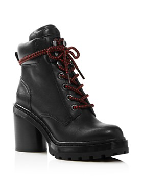 MARC JACOBS - Women's Crosby Round Toe Leather Platform Hiking Boots