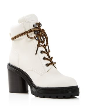 Women'S Crosby Round Toe Leather Platform Hiking Boots, White