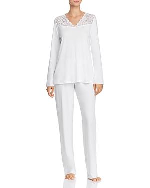 Hanro Moments Lace Trim Cotton Long Sleeve Pajama Set-Women