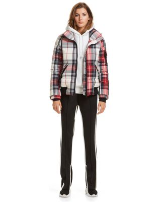 Plaid Freestyle Down Bomber Jacket