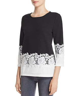 Karl Lagerfeld Lace-Trimmed Color-Block Top