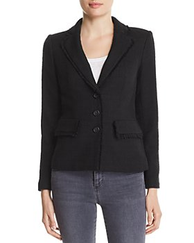 KARL LAGERFELD PARIS - Fringe-Trimmed Tweed Blazer