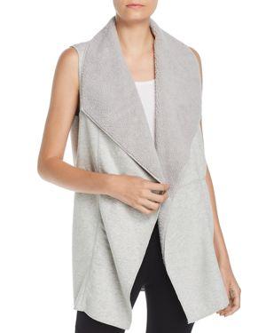Faux Shearling Reversible Vest, Silver Streak