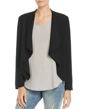 BAGATELLE Draped Crepe Open-Front Jacket in Black