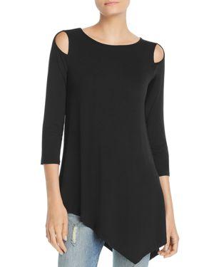 Cold-Shoulder Asymmetric Top in Black