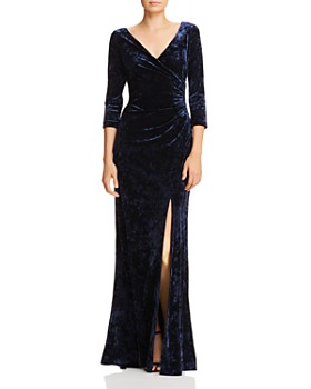 Adrianna Papell - Ruched Velvet Long-Sleeve Gown