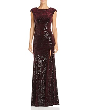 Laundry by Shelli Segal - Sequined Velvet Cap-Sleeve Gown