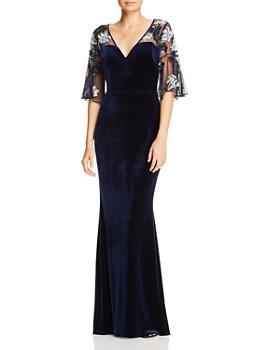 Aidan Mattox - Beaded Mesh & Velvet Gown