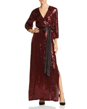 Alice + Olivia Bayley Sequined Crossover Maxi Dress in Burgundy