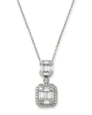 Bloomingdale's Diamond Baguette Drop Pendant Necklace in 14K White Gold, 0.80 ct. t.w. - 100% Exclus