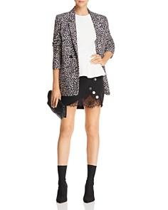 JOA - Lace-Trimmed Faux-Wrap Mini Skirt