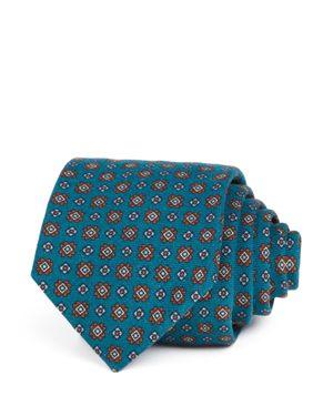 DRAKE'S Square Florette Classic Tie in Teal