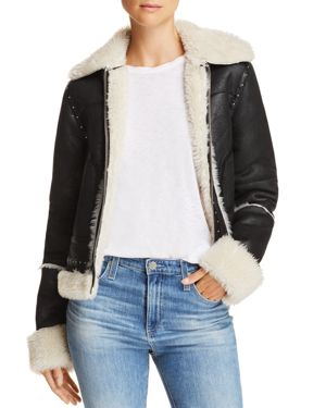 SUNSET & SPRING Faux-Shearling Studded Jacket - 100% Exclusive in Crackle Black