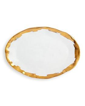 VIETRI -  Gold Brushstroke Oval Platter - 100% Exclusive