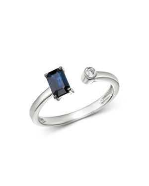 Bloomingdale's Sapphire & Diamond Geometric Open Ring in 14K White Gold - 100% Exclusive