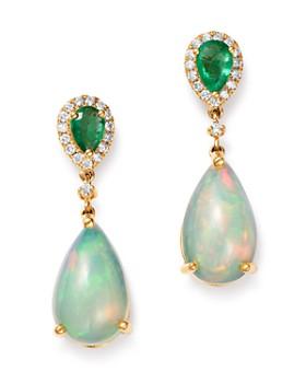 d19a6acd1 Bloomingdale's - Ethiopian Opal, Emerald & Diamond Teardrop Drop Earrings  in 14K Yellow Gold ...