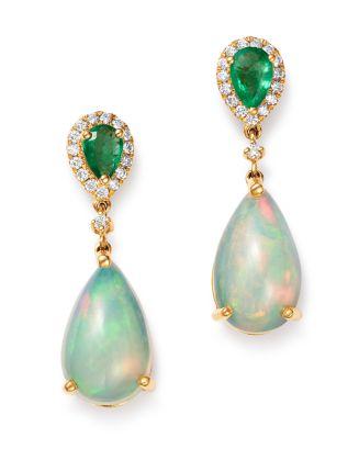 Ethiopian Opal, Emerald & Diamond Teardrop Drop Earrings In 14 K Yellow Gold   100 Percents Exclusive by Bloomingdale's