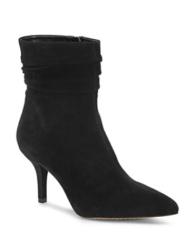 VINCE CAMUTO - Women's Abriannie Pointed Toe Suede Mid-Heel Booties
