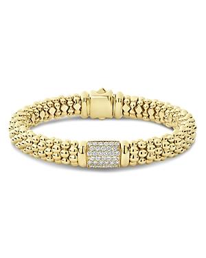 Lagos 18K Yellow Gold Caviar Gold Pave Diamond Bracelet