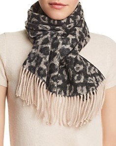 C by Bloomingdale's - Leopard Cashmere Scarf - 100% Exclusive
