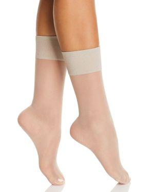 HUE Metallic Band Sheer Anklet Socks in Nude Blush