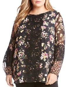 Karen Kane Plus - Floral Lace-Trim Top
