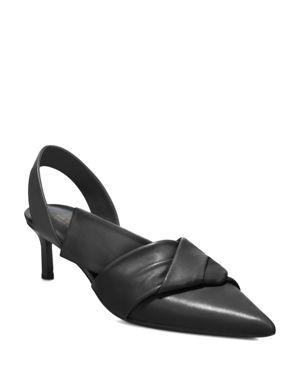 Via Spiga Women's Elisha Leather Kitten Heel Slingback Pumps