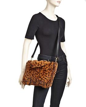 AQUA - Leopard-Print Faux-Fur Tote - 100% Exclusive
